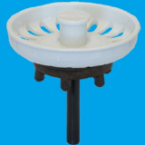 White Kitchen Sink Basket Strainer Waste Plug - 39000023